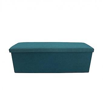Rebecca Móveis Recheado Pouf Sentado Recipiente Azul Dobrável 38x110x38