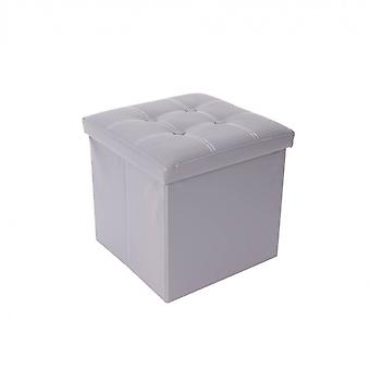 Rebecca Furniture Puff Container Chest Cube Design Pé Cinza 30x30x30