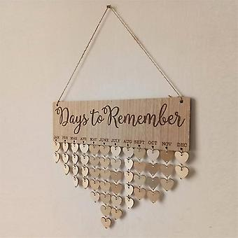Christmas New Year Birthday Special Days Reminder Board - Home Decor Hanging Wooden Calendar Board Ornament