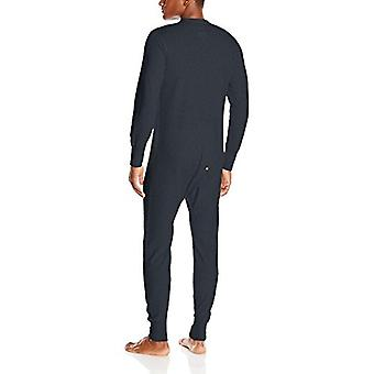 Duofold Men's Mid Weight Double Layer Thermal Union suit, Navy, Large