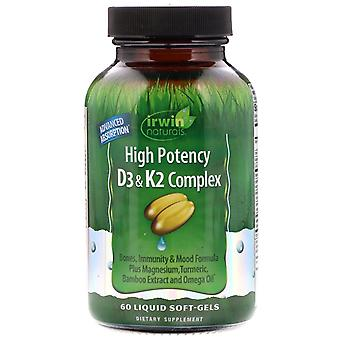 Irwin Naturals, High Potency D3 & K2 Complex, 60 Liquid Soft-Gels