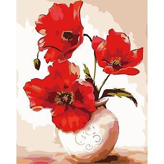 Ölgemälde von Zahlen Blume Diy Leinwand Bild von Hand bemalt Home Decoration