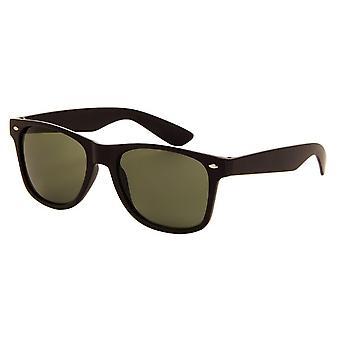 Okulary przeciwsłoneczne Unisex Oryginalna matowa czerń z zieloną soczewką (AZ-60)