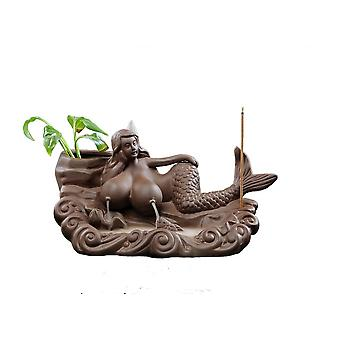 Retro Handmade Mermaid Ceramic Backflow Incense Holder For Home Decoration With 50 pcs Backflow incense cones
