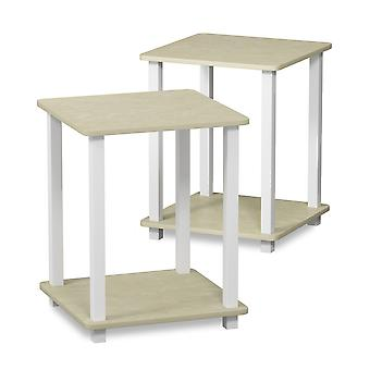 Furinno Simplistic End Table, Set of Two, Cream Faux Marble/White