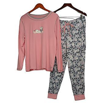 Anybody Women's Petite Pajama Set Cozy Knit Novelty Print Pink A298207