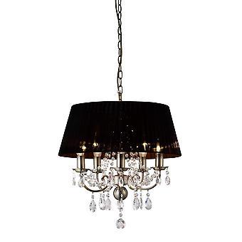 Inspireret Diyas - Olivia - Loft Vedhæng med sort skygge 5 Lys Antik Messing, Crystal