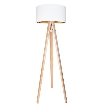 Floor lamp Jalua F Velours white & gold with tripartite wood H: 140cm 10785