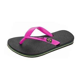 Ipanema Rio II Kids Beach Flip Flops / Sandals - Black and Pink