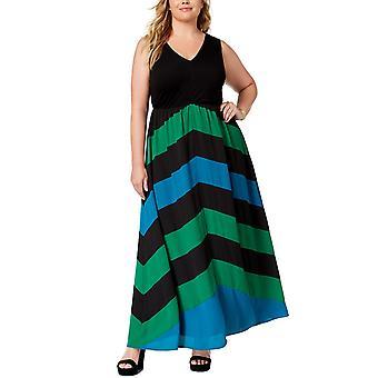 INC | Knit Top Woven Chevron Print Dress