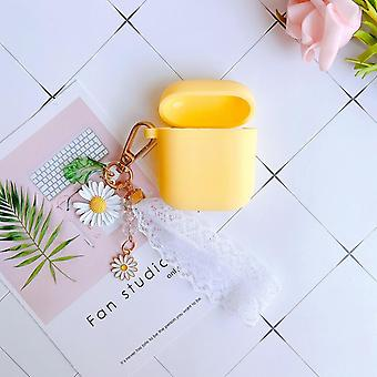 Luxury Cute Flower Decoration Case For Apple Airpods Case Ornament Accessories- Bluetooth Earphone Silicone Cover Key Ring