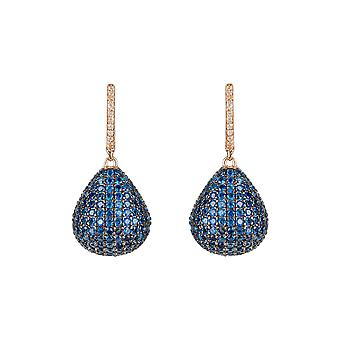 Pink Sapphire Blue Valerie Pear Drop CZ Gemstone Gift Rose Gold Dangle Earrings