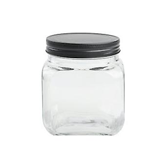 T & G Jar Square Black Lid 690ml 13140
