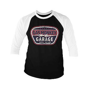 Gas Monkey Garage Baseball Shirt Vintage Custom Official Mens Noir 3/4 Manche