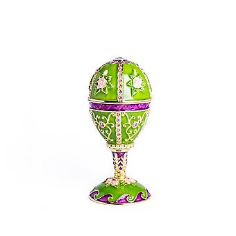 Faberge Egg Music Playing Decorated With Flowers Trinket Box