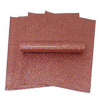 A4 rød og gull iriserende fargeblanding glitterpapir myk berøring ikke skur 100gsm pakke med 10 ark