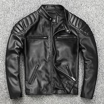 Chaqueta de cuero para hombre Biker abrigo cálido, ropa de cuero delgado