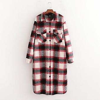Plaid Woolen Long Coat Outwear