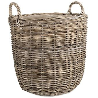 Large Hessian Lined Tall Round Fireside Rattan Log Basket