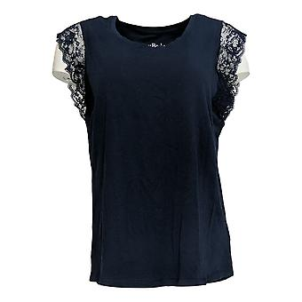 Anybody Women's Top Cozy Knit Laced Short Sleeves Blue A353763