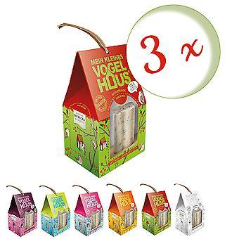 Sparset: 3 x FRUNOL DELICIA® Delicia® Mein kleines Vogelhaus mit Pic-Me-Up Bloc, 1 Stück, Farbe zufällig