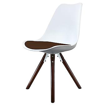 Fusion Living Eiffel Inspired White And Chocolate Brown Plastic Dining Chair With Pyramid Dark Wood Legs