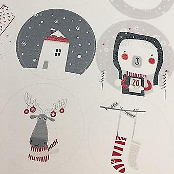 Christmas Nordic Sheet of 35 Stickers Circular Xmas Craft