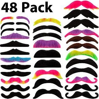 Willbond 48 pièces fausses moustaches, auto adhésif nouveauté moustache fiesta fournitures de fête, costu fantaisie