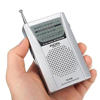 Pocket Radio Telescopic Antenna, Mini Am/ Fm 2-band World Receiver With