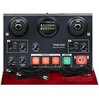 Tascam us-42 minstudio Creator Audio-Schnittstelle für Podcasting und Bundle mit Hilfs-& xlr Kabel + Fibertique Reinigungstuch