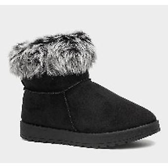 Ladies Faux Fur Flat Varme Ankelstøvletter for Kvinner i Svart