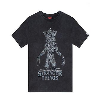 Camisa de Stranger Things para mulheres | Adultos Carvão Ácido Lavagem Demogorgon Top | Mercadoria de presente original da Netflix