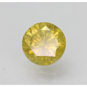 Cert 0.81 Karaat Levendige Gele SI1 Ronde Briljant Verbeterde Natuurlijke Diamant 5.94mm