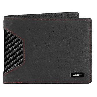 Alcantara & Real Carbon Fiber Bi-fold Wallet (red Stitching)