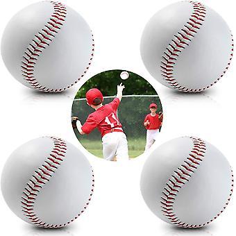 """Gerui 4 Pack Baseballs 9"""" inch Handmade Baseball Balls Softball for Training Exercise Game White"""