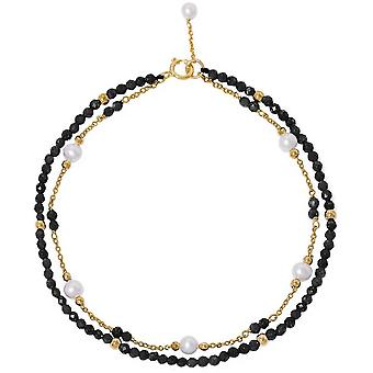 Pearls of the Orient Clara Black Spinel Fine Double Chain Bracelet - Black