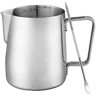 Milk Jug, 350ml/12oz Stainless Steel Milk Frother With 1needle
