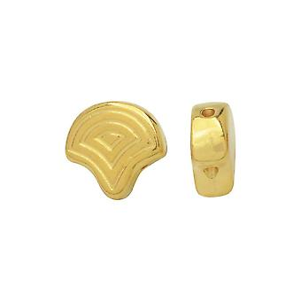 Cymbal Beads Sustituto de Ginko Beads, Vlasios, 2-Hole 7.5x7mm, 4 Piezas, 24k Gold Plated