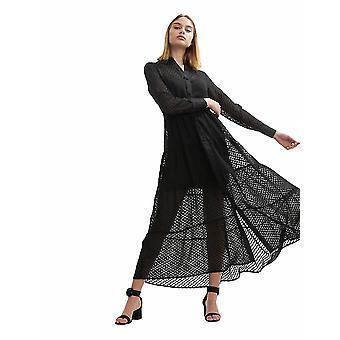 Shuuk Women's Casual Plumeti Long Maxi Dress with Long Sleeves and Button Cuffs
