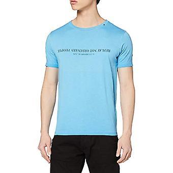 REPLAY الملابس مصبوغ القطن تي قصيرة الأكمام تي شيرت، الأزرق (أزور 706)، رجل صغير