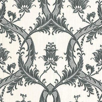 Milano White Black Damask Wallpaper