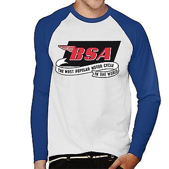 BSA Most Popular Motor Cycle In The World Logo Men's Baseball Long Sleeved T-Shirt