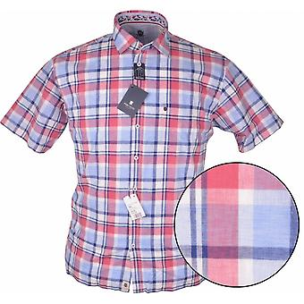 HATICO Hatico Mens Big Size Casual Linen Red Check Short Sleeve Shirt