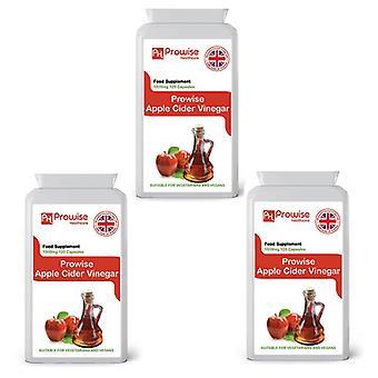 Pack of 3 - Premium Apple Cider Vinegar 1000mg – 120 Capsules | Suitable For Vegetarians & Vegans | Made In UK by Prowise