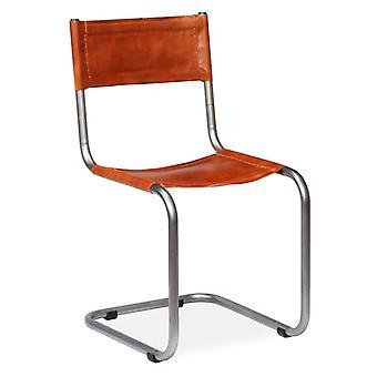 vidaXL sillas de comedor 4 piezas. cuero real marrón