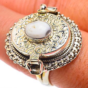Grote Oceaan Jasper Poison Ring Maat 9 (925 Sterling Zilver) - Handgemaakte Boho Vintage Sieraden RING66688