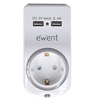 Wtyczka ścienna z 2 portami USB Ewent EW1225 16A 3680 W