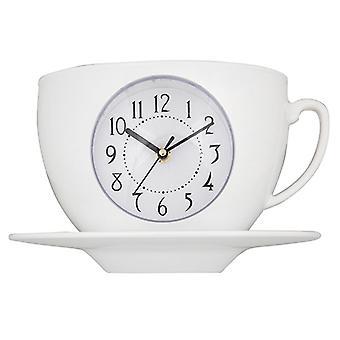 Taza de salón de té y reloj de platillo blanco
