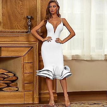 S λευκό καλοκαίρι σέξι λουρί βαθιά v βραδινά φορέματα για τις γυναίκες κόμμα 2021 urbano vintage φόρεμα fa0897