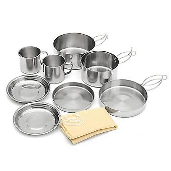 8pcs Portable Cookware Stainless Steel Pan Cooking Tool Set For Trekking Hiking Backpack Picnic Outdoor Edc Tactical Sets With Bag